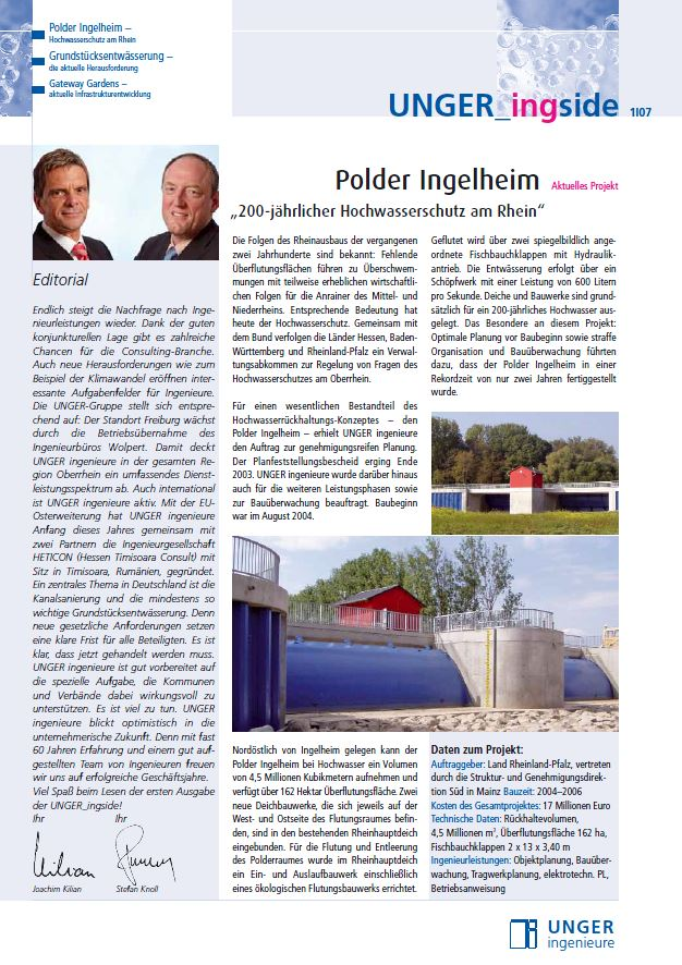 Newsletter 2007 Unger ingenieure Titel