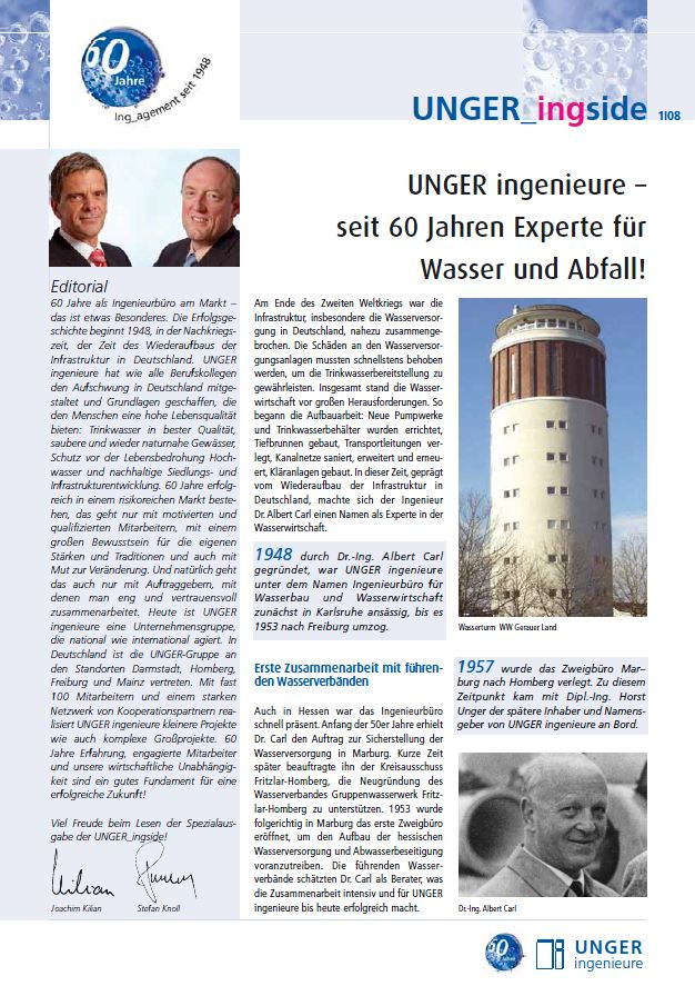 Newsletter 2008 Unger ingenieure Titel