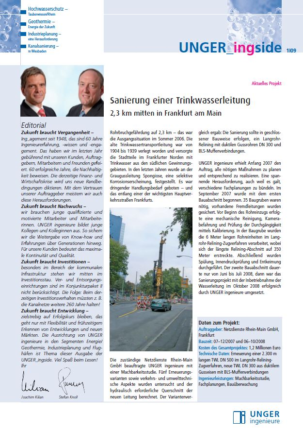 Newsletter 2009 Unger ingenieure Titel