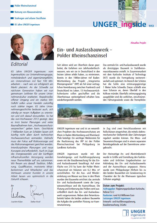 Newsletter 2013 Unger ingenieure Titel