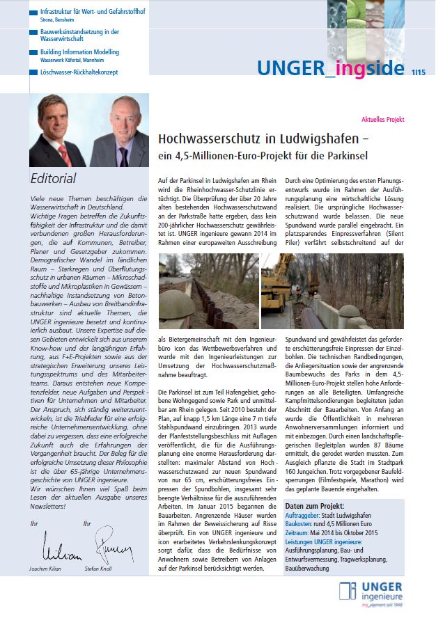 Newsletter 2015 Unger ingenieure Titel